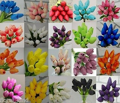 1x LATEX REAL TOUCH TULIPS BOUQUETS WEDDING BRIDAL BOUQUET ARTIFICIAL TULIP 12PC