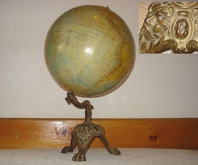 1800s ANTIQUE GOLD PLATED BRONZE GLOBE STAND w/GLOBE