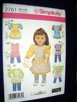 """18"""" DOLL American Girl Aprons Smock Pinafore NEW Simplicity 2761 Heigl Pattern"""