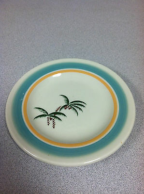 "Vtg Restaurant Ware China 5-1/2"" Plate Saucer Mayer Palm Tree Blue Peach Band"