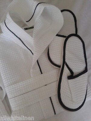 Mens 100% Cotton Waffle Hooded Bathrobe & Slippers White  Black Piping 4 Sizes