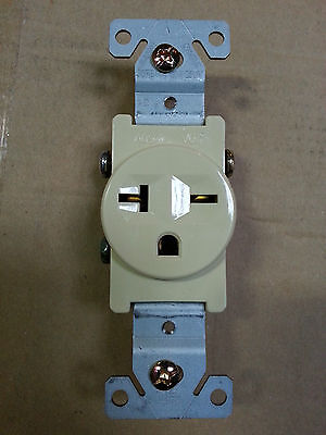 (10 pc) Single Receptacle 20 Amp 20A 250V AC Outlet 2 Pole 3 Wire Ivory