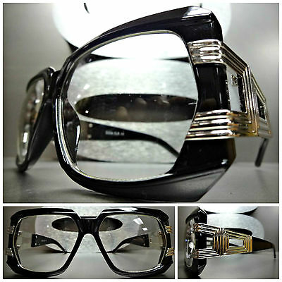 Mens Women CLASSIC RETRO VINTAGE STYLE Clear Lens EYE GLASSES Black Silver Frame