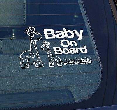 Static Cling Window Car Sign/Decal Baby on Board Giraffes 100mm x 150mm