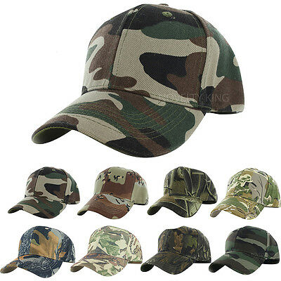 Camo Cap Adjustable Velcro Military Hunting Fishing Hat Army Baseball Camouflage