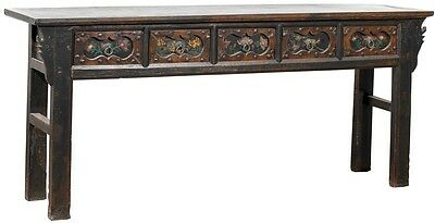 "82"" antique console table elm wood old carvings details black 4 drawers cool"