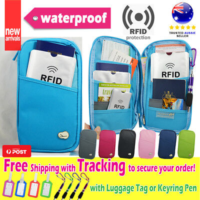 Travel Wallet Ticket Holder wt RFID Blocking Cover for Passport Card +Pen Tag D2