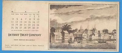 Detroit Trust Company blotter 1947 - image of Detroit in 1837 from old banknote