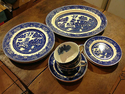 Lot of 11pcs of Alfred Meakin OLD WILLOW - BLUE t/w 2pcs JAPAN BLUE WILLOW Cups