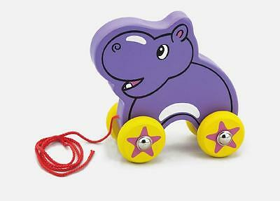 NEW Childrens Wooden Pull Along Hippo - Baby Pull Toy
