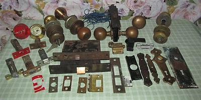 Vintage Antique Lot Of Complete Brass? Door Knob Handle Sets Locks