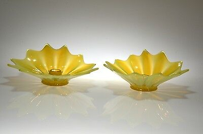 1959-62 HEIRLOOM Forstoria Opalescent Yellow #2183/311 PAIR Flora Candles MINTY