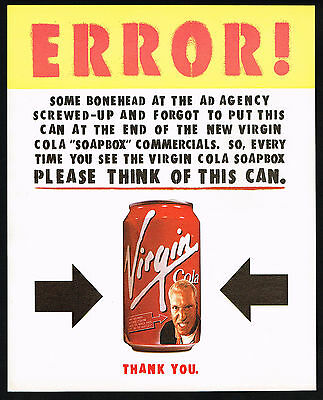 1998 Virgin Cola Can Ad Agency Error Magazine Print Ad