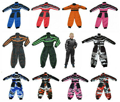 Kids Wulfsport Race Suit Overalls Motocross Go-karting Youth Child Pants Wulf Mx