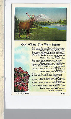 Out Where The West Begins Poem  Elk & Mountain  Unused   Linen Postcard 933