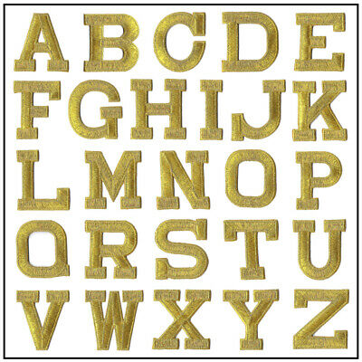 Iron on Letters - Embroidered Block Letters - White, Blk, or Gold - USA Seller!