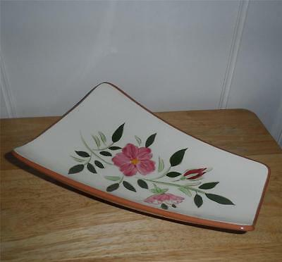 STANGL POTTERY WILD ROSE FOOTED RELISH DISH