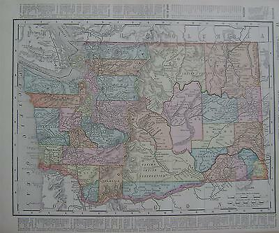 1898 Washington Original Dated Color Atlas Map* Oregon on back .115 years-old!