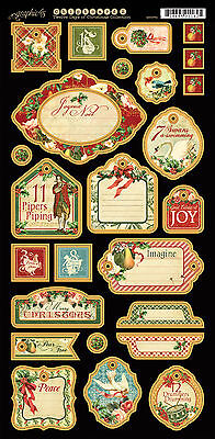 Graphic45 Chipboard-TWELVE DAYS OF CHRISTMAS #2 scrapbooking (26) PCS