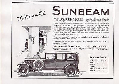 1926 Sunbeam Automobile Magazine Ad.