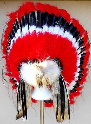 "Genuine Native American Navajo Indian Headdress 36"" COMANCHE TRADITIONAL w/ tail"