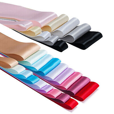"""Double Sided Satin Ribbon Craft,50mm,2"""" & 19mm,¾"""" Bridal Colours Wedding Neotrim"""