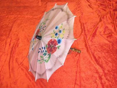 1930s VINTAGE ORIGINAL CHILD UMBRELLA w/WOODEN HANDLE