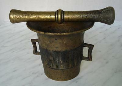 19C. Antique Apothecary Brass Mortar & Pestle