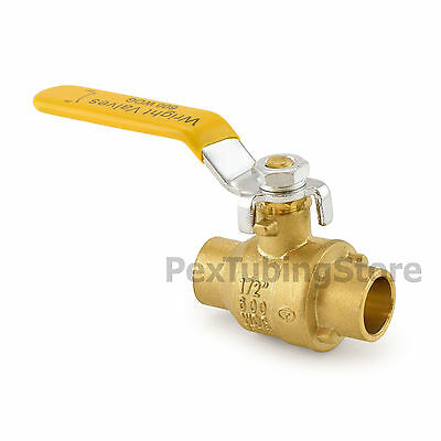 "1/2"" Sweat (CxC) Brass Ball Valve Full Port, Shut-Off Valves, 600psi WOG"