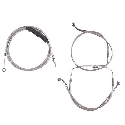"""Stainless Cable & Brake Line Bcs Kit 18"""" Apes 2008-2013 Harley Touring No ABS"""