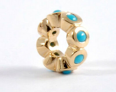 Genuine 14ct 14K 585 Solid Yellow Gold Natural Turquoise Roundel Bead