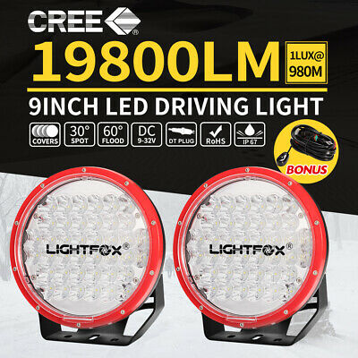 2X 9inch CREE Spot LED Driving Lights OffRoad 4X4 Red Spotlights Work Lamp W/DRL