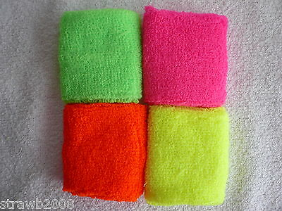 2 x Sweatband Wristband Funky Neon Electric Pink Green Yellow Orange Rave Retro