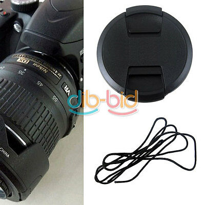 52mm Front Lens Cap Cover 18-55mm 55-200mm with Cord For Nikon Lens Filter EB