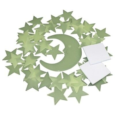 88G - 50 Glow In The Dark Star and Moon Plastic Shapes for Ceiling Wall Bedroom