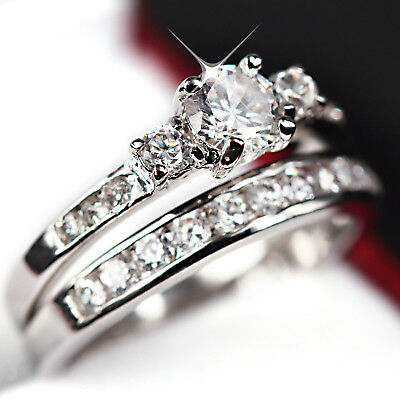24K White Gold Gf R224 Trilogy Lab Diamonds Wedding Anniversary Womens Ring Set