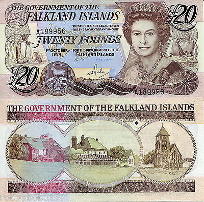 FALKLAND Islands 20 Pound Banknote World Paper Money UNC Currency Pick p15 Queen
