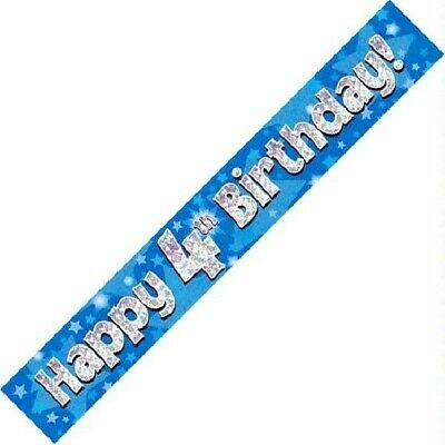 Banner Age 4  ' Happy Birthday ' Party - Holographic  -  4Th  Blue Boy - New