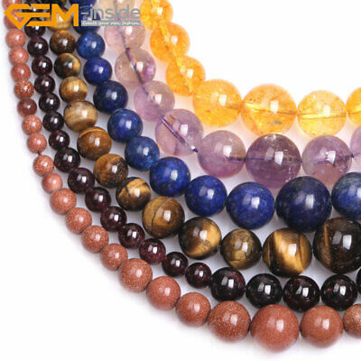 Fashion round smooth faceted graduated gemstone necklace loose beads strand 15""