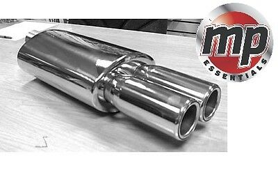 Stainless Steel Sports Muffler Oval Back Box And Twin Round Exhaust Tip #SWUXE14