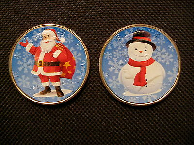 Colorized Christmas Santa Claus and Snowman Coin Set (2 Coins)