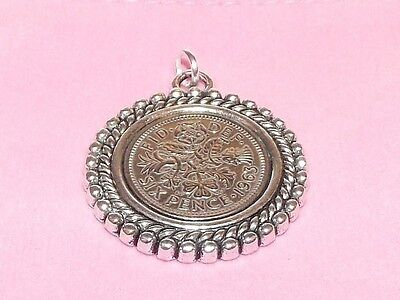 1955 62nd Birthday / Anniversary sixpence coin Rim pendant ready to hang