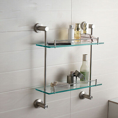 Brushed Nickel Wall Mounted Brass Bathroom Shelf Cosmetic Rack Dual Tiers Shelf