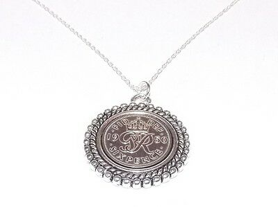 1948 69th Birthday / Anniversary sixpence coin Rim pendant plus 18inch SS chain