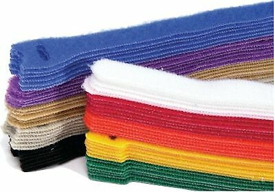 10 pieces x 203mm Long Colored Hook & Loop Reusable Cable Ties Straps
