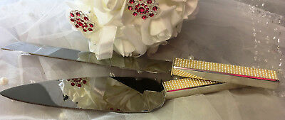 Bridal/Engagement/Gold Pearl Wedding Cake Server & Knife Set Stainless Steel