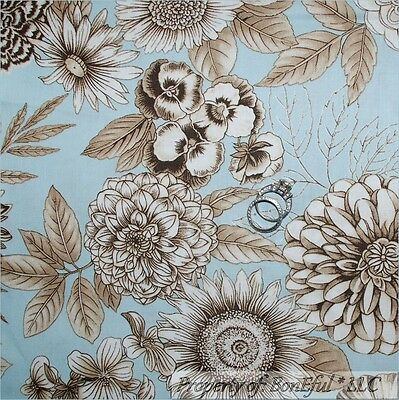BonEful FABRIC FQ Cotton Quilt VTG Country Shabby Chic Large Flower Leaf Cottage
