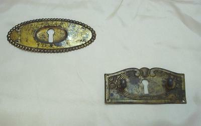 Antique Art Nouveau Metal Furniture Drawer Lock Plates