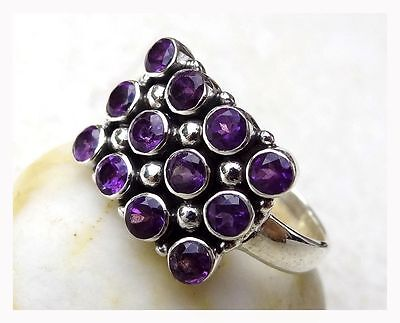925 Sterling Silver Faceted PURPLE AMETHYST Semi Precious GEMSTONE RING SIZE R