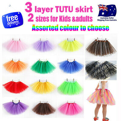 Kids Adults Baby Girls Tutu Skirt Dress Party Costume Ballet Dancewear *3 Layer